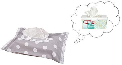 Vizaro - HÜLLE für Baby Feuchttücherbox/Pflegetücher/Mäpchen - der Handtücherschachtel - 100% REINE BAUMWOLE - Made in EU - ÖkoTex - SICHERES PRODUKT - K. Weiße Tupfen