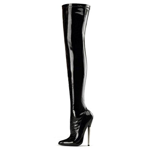 Higher-Heels Devious Overkneestiefel Dagger-3000 Lack schwarz 42 -