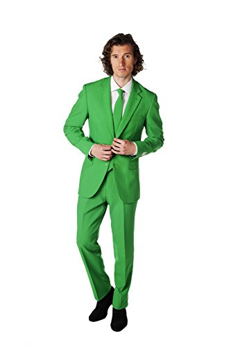 OppoSuits Evergreen Solid Green Suit For Men Coming With Pants, Jacket and Tie - 100% Money Back Guarantee, EU 58 (Herren Green Jacket Suit)