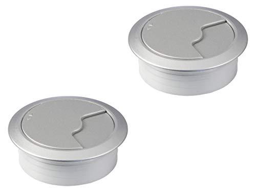 Gedotec Kabel-Durchführung silber Schreibtisch Kunststoff DESK rund | Kabeldurchlass weiß-Aluminium RAL 9006 | Bohr-Ø 60 mm | Tisch-Kabelführung zum Eindrücken | 2 Stück - Design Kabeldosen für Möbel
