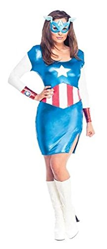 Damen Marvel Miss American Dream Captain America Kleid, Erwachsene Kostüm - Kleine UK 8-10 ()