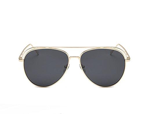 WHO AM I 2018 Trends Farbfilm Spiegel Runde Rahmenglas Polarisierte Sonnenbrille,Black