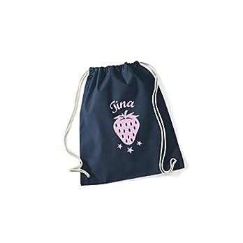 SupaRina Turnbeutel Rucksack für Mädchen mit Erdbeere Strawberry und Namen in Deiner Wunschfarbe P