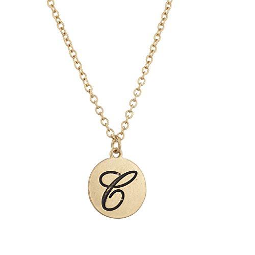 LUX Zubehör goldfarbenes Initiale C Script Personalisierte Kreis Anhänger Halskette -