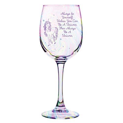personalisierbar Einhorn Glanz Weinglas in Geschenkbox–mit eigenen Nachricht