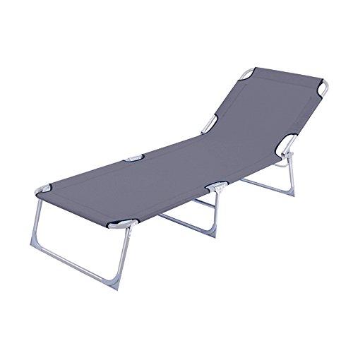 MCTECH® Klappbar Strandliege Freizeitliege Gartenliege Sonnenliege Schaukelliege Campingliege Regiestuhl, 188 x 58 x 24 cm (Grau)