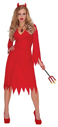 Karnevals Komplettkostüm Lady Devil - Teufelchen, M/L, Rot (Moderne Teufel Kostüme)