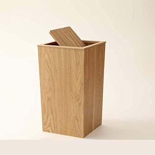 Desconocido Cubo de Basura de Madera con Tapa para el hogar, Cubo de Almacenamiento Cuadrado, Barril...