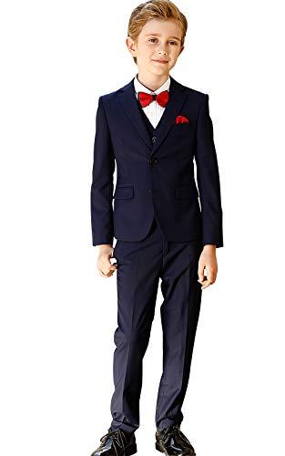 ELPA ELPA Graue Anzug Jungen Smoking Anzug Kinder Kostüme dünne Klage Formelle Kleidung, Blau, 5 (Kinder Smoking Kostüm)