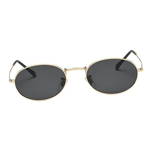 Homyl Runde Retro Lennon Sonnenbrille Vintage Polarisierte Linsen Rundbrille Hippi Brille Nickelbrille Dekobrille - Gold Frame Schwarz Graue Linse
