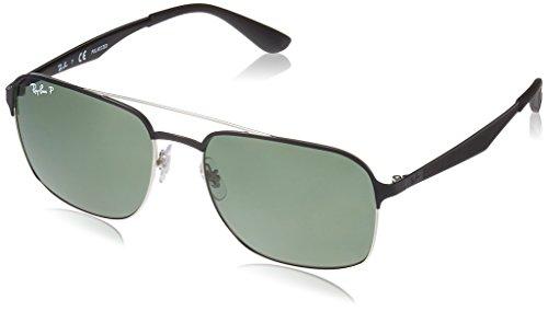 Ray-Ban Unisex-Erwachsene Sonnenbrille 0rb3570 Silver Top Shiny Black/Darkgreenpolar, 58