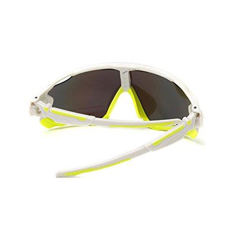 KRY UV400Occhiali da sole sportivi da uomo, infrangibili, montatura in metallo, ideali per guida, golf e pesca, Uomo, White & Lemon, 145mm 50mm 122mm
