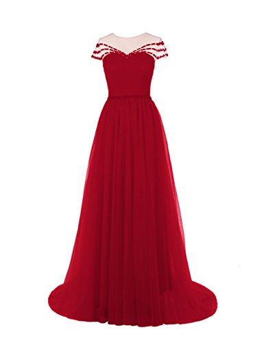 Dresstells, Robe de soirée Robe de cérémonie Robe de gala mousseline tulle traîne moyenne col rond emperlée avec nœud à boucles Rouge Foncé