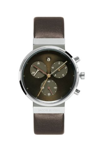 Jacob Jensen Chronograph Series Women's Quartz Watch with Brown Dial Chronograph Display and Brown Leather Strap 614