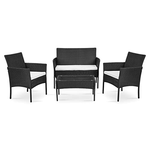 Nellguten 4-teiliger Rattan Korbstuhl Outdoor Gartenmöbel Sitzgruppe Essgruppe Set Sofa-Garnitur Lounge Schwarz -