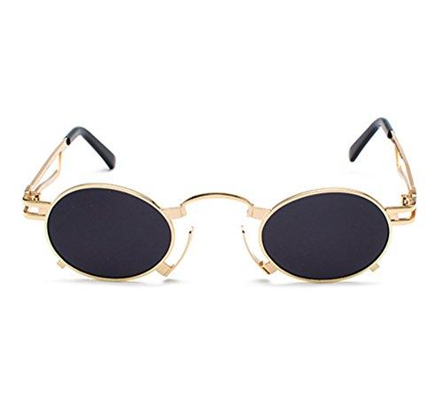 Hellomiko Retro Hippie Steampunk Sonnenbrille Metall Oval Frame nicht polarisierte Gläser