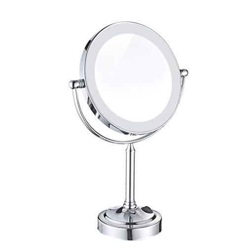 ALYR LED Kosmetikspiegel Mit Licht -Make-up beleuchtete kosmetische Mirror, doppelseitige Wand montiert Vergrößerung Badezimmer Mirrors, Chrome Finish,White_8 inch -