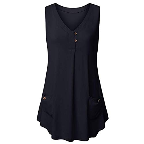 MA87 Womens Casual V-Neck Sleeveless Buttons Design Tank -