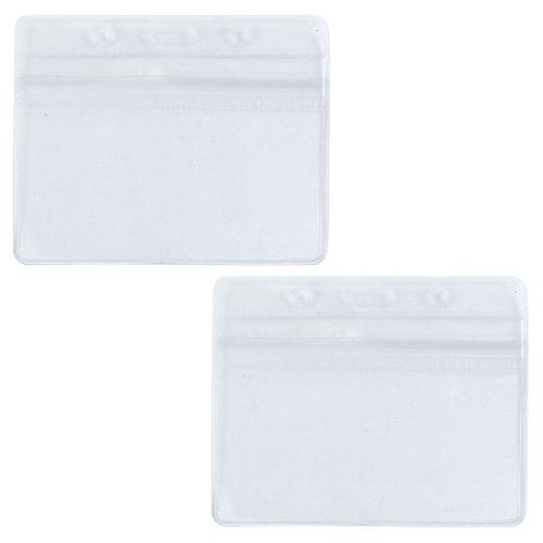 sourcingmap® 2 Pcs PVC wasserdicht horizontal ID Karten Sichthülle Ausweishülle Kartenhalter