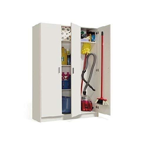 Habitdesign 007143O - Armario Multiusos Tres Puertas, Color Blanco, Dimensiones 180 x 109 x 37cm