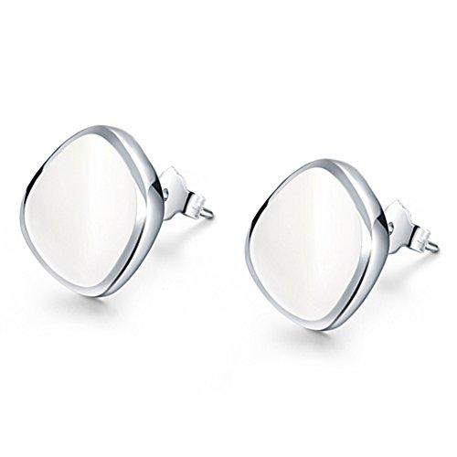 Ladies orecchini fashion/Semplice carino Stud Earrings/ Silver borchie (Pietra Amethyst Silver Ring)