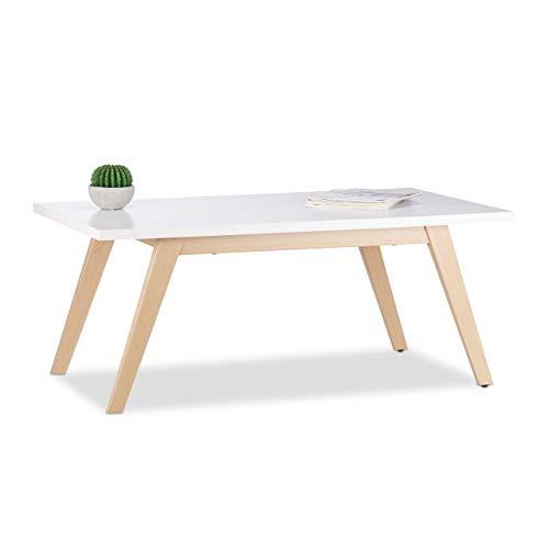 Relaxdays Couchtisch Holz Metall, rechteckig, 4 Metallfüße in Holzoptik, heller Holztisch, HBT: 44.5 x 110 x 60 cm, weiß -