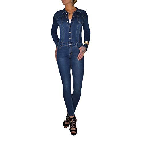 Dresscode-Berlin DB Hochwertiger Damen Jeans Overall in blau und schwarz (M / 38, Blau)