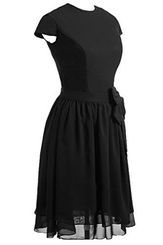 Sunvary Glamour 2015 Kurz Arm Schleife Chiffon Abendkleid Partykleider Schwarz