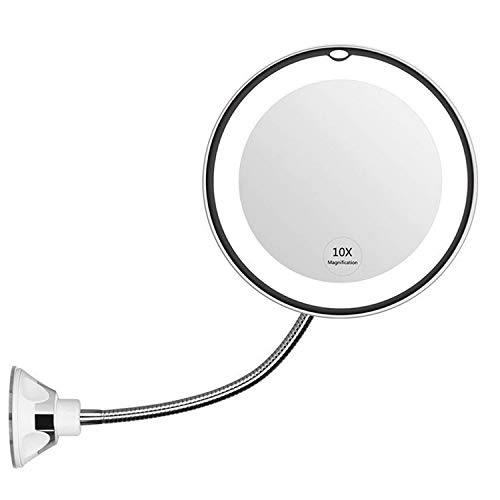 Flexible Mirror, Vococal 10X Espejo De Maquillaje Iluminado, 360 ° Giratorio Flexible Led Espejo De...