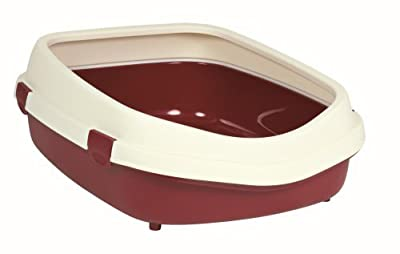 Trixie Primo Cat Litter Tray with Rim, X-Large, 71 x 56 x 25 cm, Bordeaux/Cream