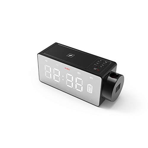 WLNKJ Neuer LED-Spiegelwecker, drahtloses Aufladen des Subwoofers des Handys Bluetooth Lautsprechergeschenk,Black (Akustik-wireless-lautsprecher)