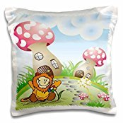 Designs Random Animals - Cute Lion With Rainbow Flower On Fantasy Nature Background With Toadstool Mushroom Houses - 16x16 inch Pillow Case