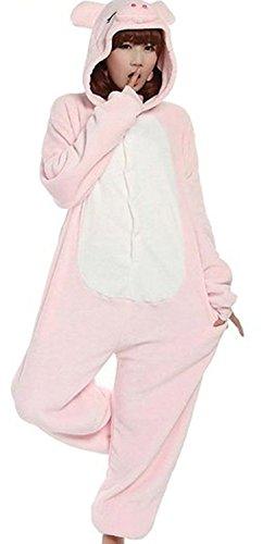 Imagen de abyed kigurumi pijamas unisexo adulto traje disfraz adulto animal pyjamas,rosado cerdo adulto talla m para altura 159 166cm alternativa