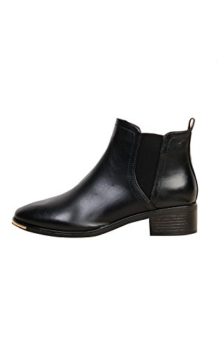 Women's Ladies Stunning Block Heel Faux Leather Glam Ankle Boots Black