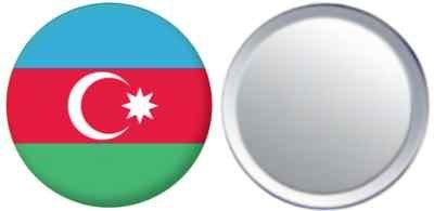 Miroir insigne de bouton Azerbaijan drapeau - 58mm
