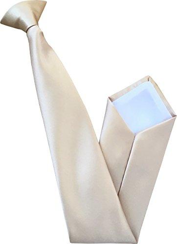 Italienische Satin Clip-On Krawatte (Champagner)