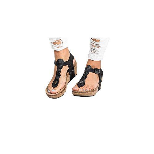 Damen Sommer Flip Flops Bequeme Zehentrenner mit Keilabsatz und Plateausohle aus Kork, Frauen Strandsandalen Sandaletten Badesandale Clip Toe Schuhe Pantoletten Celucke(Schwarz,37 EU) -