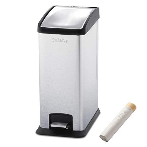 Velaze Poubelle Tri à Pédale en Acier INOX, 20 Pcs Sac-poubelles Inclus, Soft-Close Poubelle Cuisine de 12L, Tri des Ordures, Recyclage à Domicile/Cuisine/Bureau
