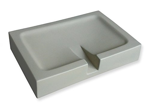 Seifenschale aus Natur-Beton mit selbstleerendem ergonomischem Ablauf - Rutschfeste Füße - Seifenablage in Hochwertiger und Zeitloser Betonoptik - 12x9x2,5 cm