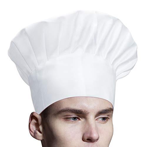 Jespeker 2 Stck Kochmütze Weiß Einstellbar Gummiband Kochhaube Klettverschluss Männer Frauen Küchenmütze Gastromützen zum Kochen Backen Grill