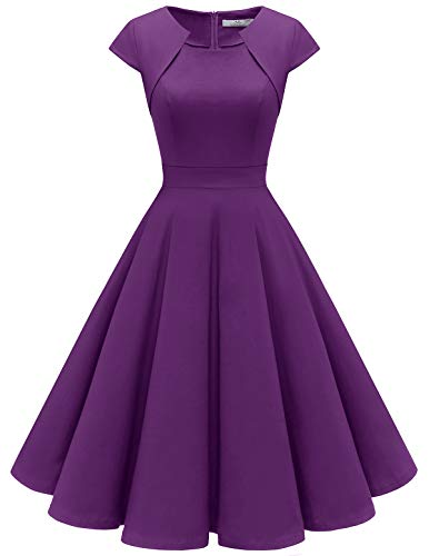 HomRain Damen 50er Vintage Retro Kleid Party Kurzarm Rockabilly Cocktail Abendkleider Purple M