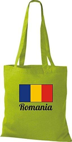 ShirtInStyle Sac en tissu Sac en coton Jute de pays Roumanie Roumanie - Jaune, 38 cm x 42 cm Kiwi