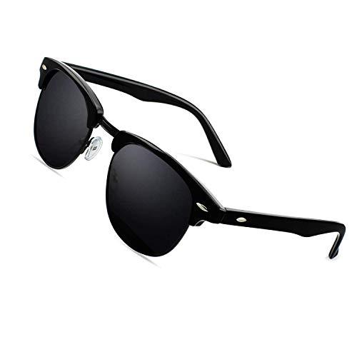 CGID MJ56 clubma Retro Vintage Sonnenbrille im angesagte 60er Browline-Style mit markantem Halbrahmen Sonnenbrille,Glänzend Schwarz-Grau