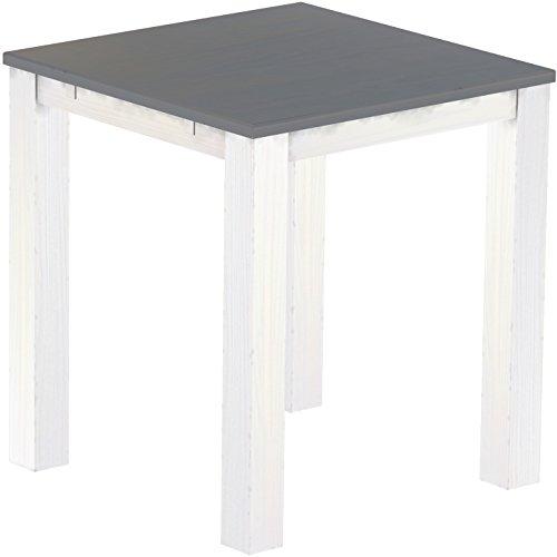 Brasil Meubles Haut 'Rio Classico' Table 120 x 120 cm, Pin Massif, Coloris Gris Soie – Blanc