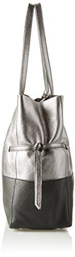 Arcadia Kira, Borsa a Spalla Donna, 15x31x31 cm (W x H x L) Argento (Silver/Nero)