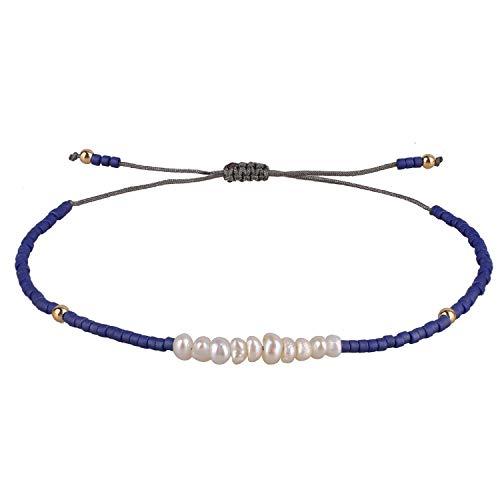 KELITCH Armbänder Damen Herren Shell Perle Japanischen Rocailles Charme Freundschaft Armbänder für Pärchen Handgemachte Einstellbare String Armband (Dunkelblau)