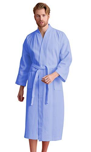 Soft Touch Linen Bademantel für Herren, Waffelmuster Luxuriöses quadratisches Muster aus türkischer Baumwolle - Blau - Large