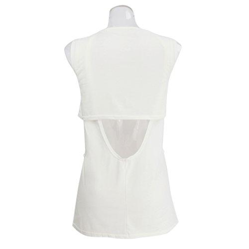 MagiDeal Donna Paletta Collo Scavano Fuori Canotta Top T-shirt Camicie Bianco