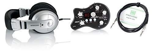 Rocktile GP-10 Practice Kit (tragbarer Kopfhörer-Verstärker und Multieffektgerät im praktischen Übungsset inkl. hochwertiger DJ-Kopfhörer & Instrumentenkabel) -