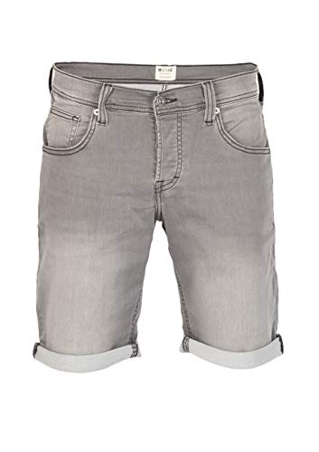 MUSTANG Herren Jeans Sweat Short Chicago Kurze Stretch Hose Real X Regular Fit - Blau - Grau, Größe:W 40, Farbe:Light Grey Denim (311) (Herren Denim Shorts)